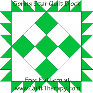 Spring Star Quilt Block Free Pattern at QuiltTherapy.com!