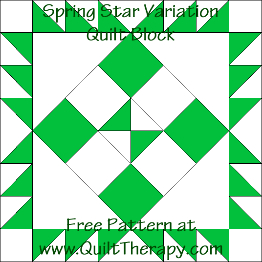 Spring Star Variation Quilt Block Free Pattern at QuiltTherapy.com!