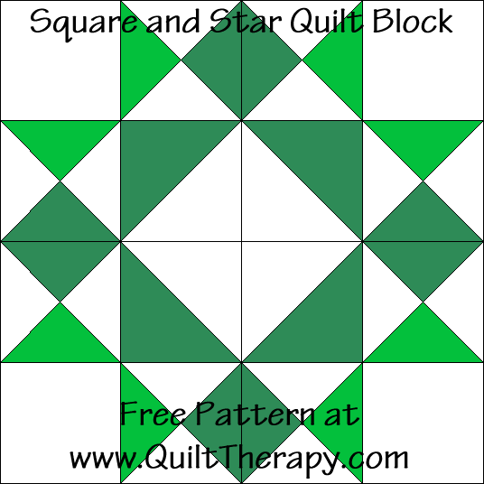 Square and Star Quilt Block Free Pattern at QuiltTherapy.com!