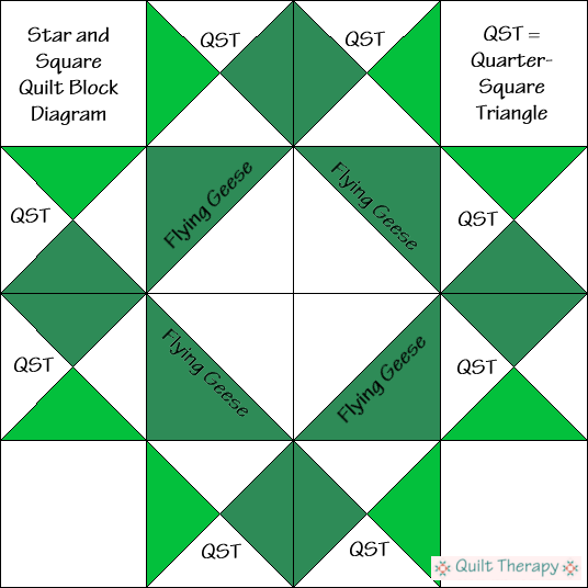Square and Star Quilt Block Diagram Free Pattern at QuiltTherapy.com!