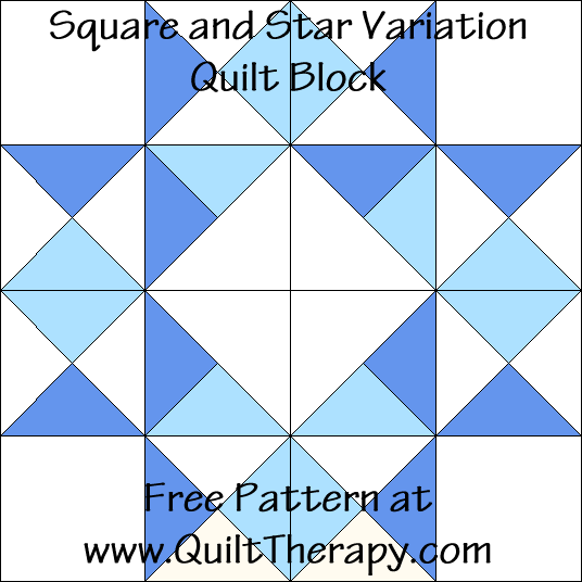 Square and Star Variation Quilt Block Free Pattern at QuiltTherapy.com!