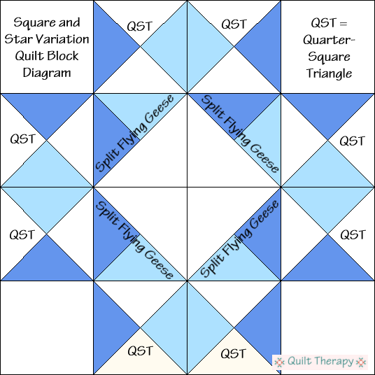Square and Star Variation Quilt Block Diagram Free Pattern at QuiltTherapy.com!