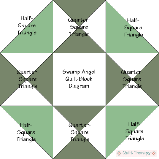 """Swamp Angel Quilt Block Diagram is a Free Pattern for 12"""" finished quilt block at QuiltTherapy.com!"""