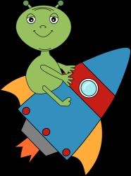 Alien Riding a Rocket