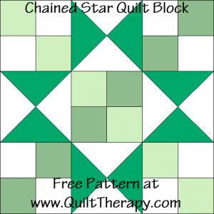 Chained Star Quilt Block Free Pattern at QuiltTherapy.com!