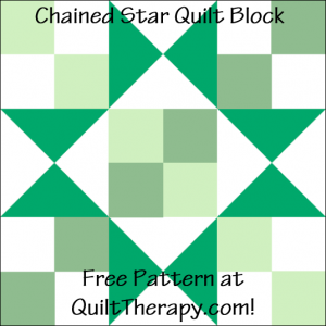 """Chained Star Quilt Block Free Pattern for a 12"""" quilt block at QuiltTherapy.com!"""