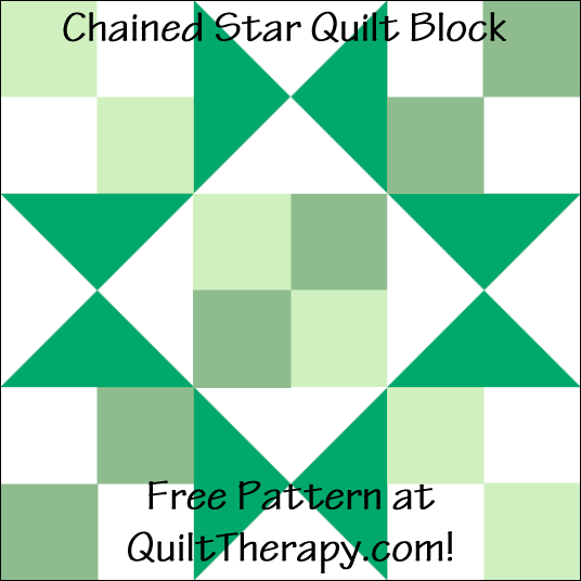 "Chained Star Quilt Block Free Pattern for a 12"" quilt block at QuiltTherapy.com!"