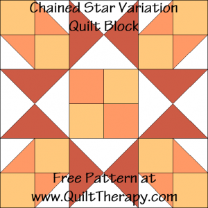 Chained Star Variation Quilt Block Free Pattern at QuiltTherapy.com!