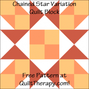 """Chained Star Variation Quilt Block Free Pattern for a 12"""" quilt block at QuiltTherapy.com!"""