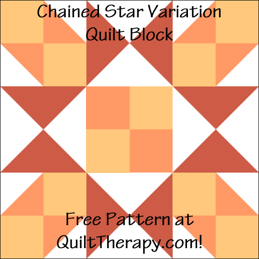 "Chained Star Variation Quilt Block Free Pattern for a 12"" quilt block at QuiltTherapy.com!"