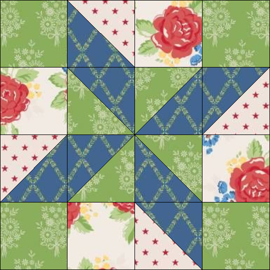 """Harry Loves Alice"" 2019 Free Block of the Month Quilt from BOMquilts.com. Block #1 – Clay's Choice."