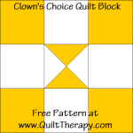 Clown's Choice Quilt Block Free Pattern at QuiltTherapy.com!