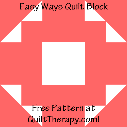 """Easy Ways Quilt Block Free Pattern for a 12"""" quilt block at QuiltTherapy.com!"""