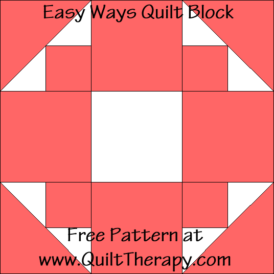 Easy Ways Quilt Block Free Pattern at QuiltTherapy.com!