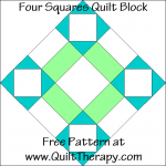 Four Squares Quilt Block Free Pattern at QuiltTherapy.com!