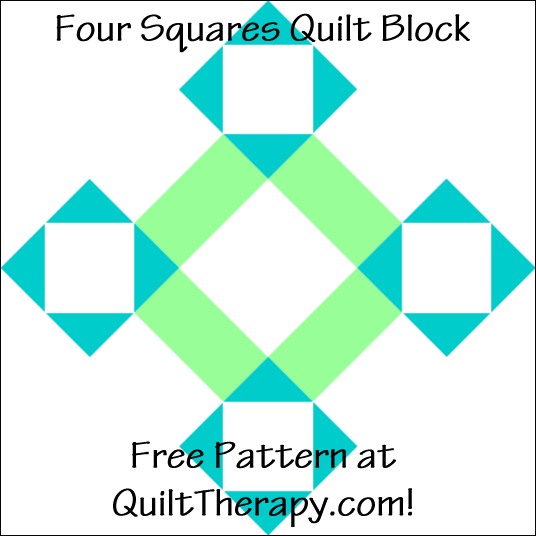 """Four Squares Quilt Block Free Pattern for a 12"""" quilt block at QuiltTherapy.com!"""