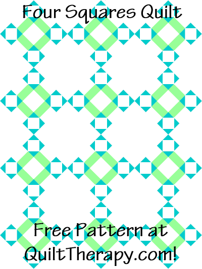 """Four Squares Quilt Free Pattern for a 36"""" x 48"""" quilt at QuiltTherapy.com!"""