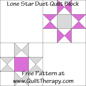 Lone Star Duet Quilt Block Free Pattern at QuiltTherapy.com!