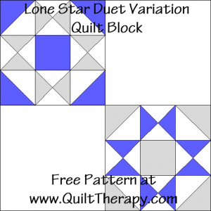 Lone Star Duet Variation Quilt Block Free Pattern at QuiltTherapy.com!