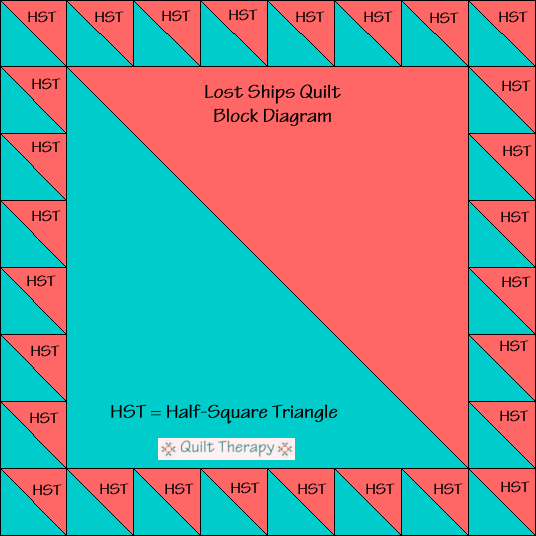 Lost Ships Quilt Block Diagram Free Pattern at QuiltTherapy.com!