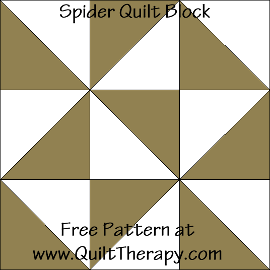 Spider Quilt Block Free Pattern at QuiltTherapy.com!