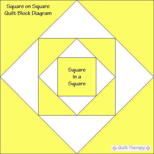 Square on Square Quilt Block Diagram Free Pattern at QuiltTherapy.com!