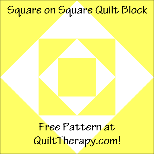 """Square on Square Quilt Block is a Free Pattern for a 12"""" quilt block at QuiltTherapy.com!"""