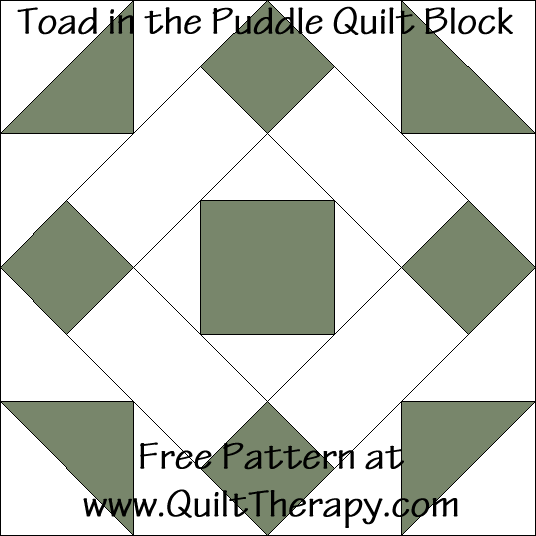 Toad in the Puddle Quilt Block Free Pattern at QuiltTherapy.com!