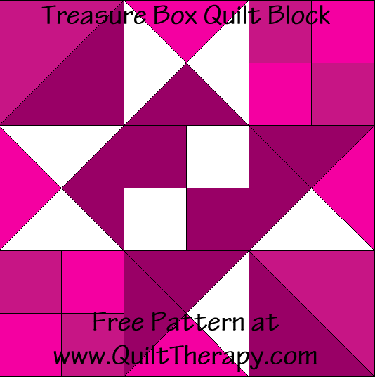 "Treasure Box Quilt Block Free Pattern for a 12"" quilt block at www.QuiltTherapy.com!"