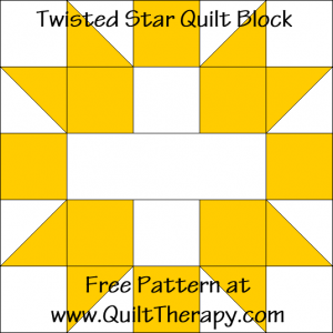Twisted Star Quilt Block Free Pattern at QuiltTherapy.com!
