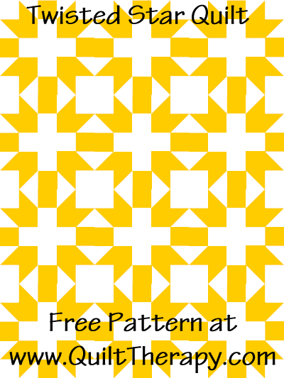 Twisted Star Quilt Free Pattern at QuiltTherapy.com!