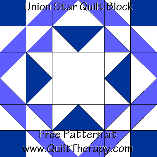 Union Star Quilt Block Free Pattern at QuiltTherapy.com!