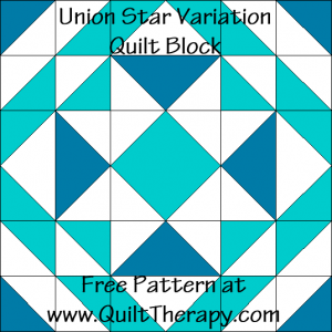 Union Star Variation Quilt Block Free Pattern at QuiltTherapy.com!