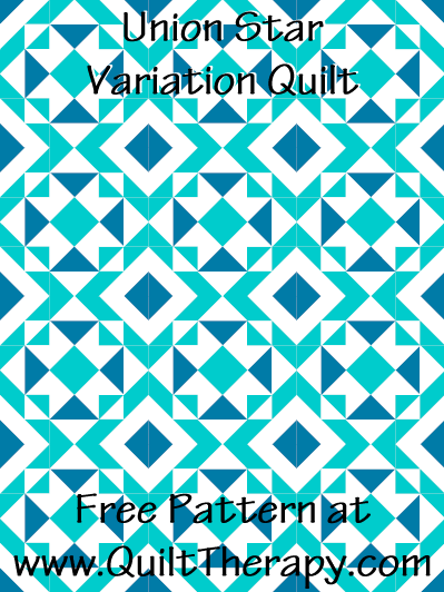 Union Star Variation Quilt Free Pattern at QuiltTherapy.com!