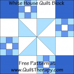 White House Quilt Block Free Pattern at QuiltTherapy.com!