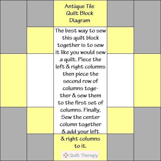 Antique Tile Quilt Block Diagram Free Pattern at QuiltTherapy.com!