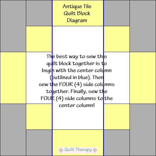 "Antique Tile Quilt Block Diagram Free Pattern for 12"" finished quilt block at QuiltTherapy.com!"