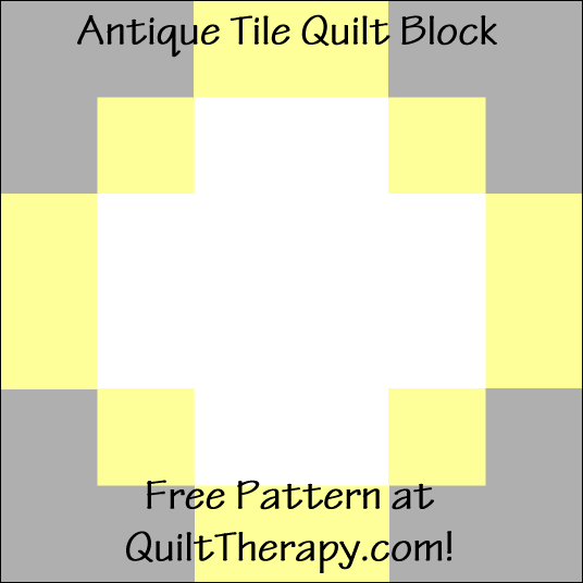 "Antique Tile Quilt Block Free Pattern for a 12"" quilt block at QuiltTherapy.com!"