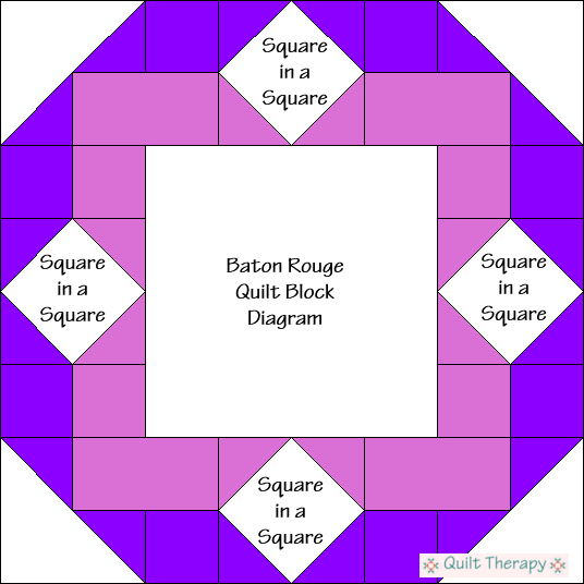 """Baton Rouge Quilt Block Diagram is a Free Pattern for 12"""" finished quilt block at QuiltTherapy.com!"""