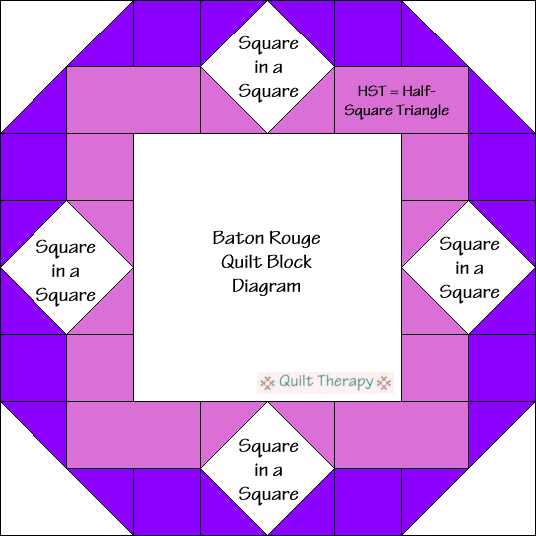 Baton Rouge Quilt Block Diagram Free Pattern at QuiltTherapy.com!