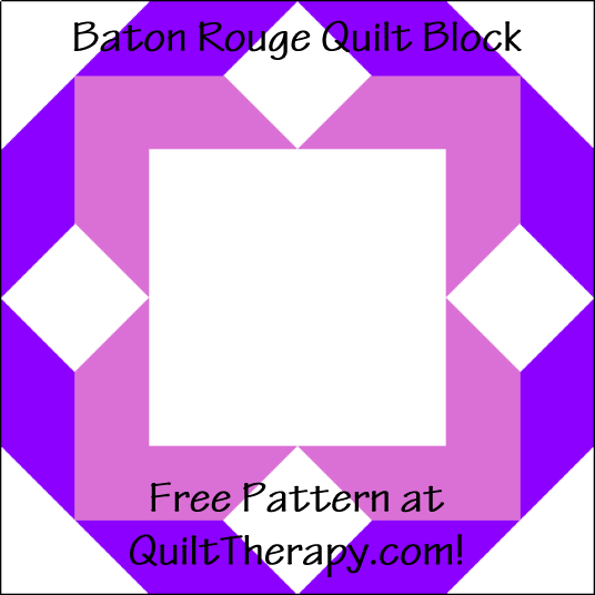 """Baton Rouge Quilt Block is a Free Pattern for a 12"""" quilt block at QuiltTherapy.com!"""