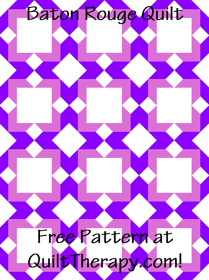 """Baton Rouge Quilt is a Free Pattern for a 36"""" x 48"""" quilt at QuiltTherapy.com!"""