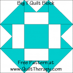 Big T Quilt Block Free Pattern at QuiltTherapy.com!