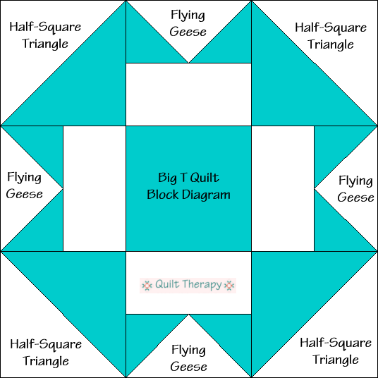 Big T Quilt Block Diagram Free Pattern at QuiltTherapy.com!
