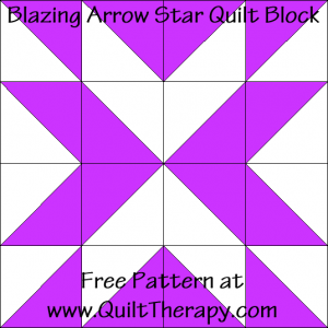 Blazing Arrow Star Quilt Block Free Pattern at QuiltTherapy.com!