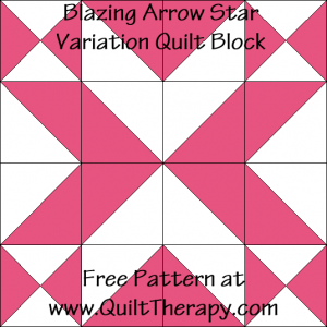 Blazing Arrow Star Variation Quilt Block Free Pattern at QuiltTherapy.com!