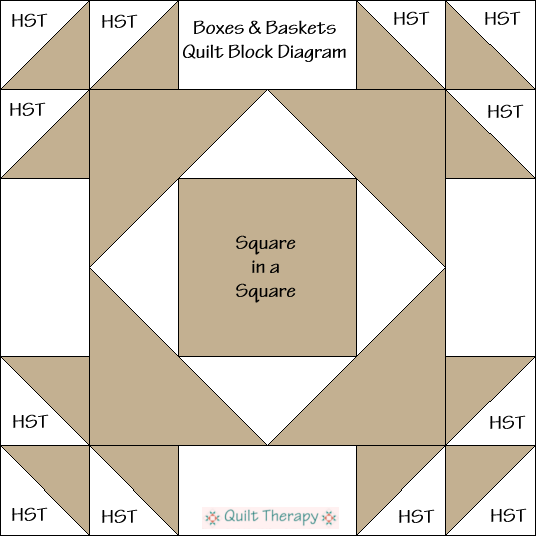 Baskets & Bows Quilt Block Diagram Free Pattern at QuiltTherapy.com!