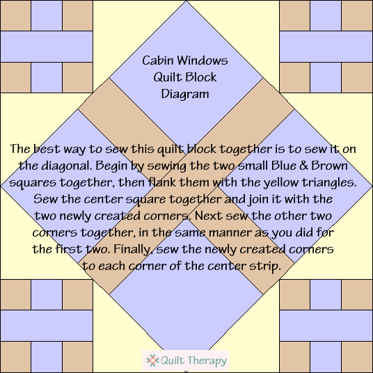 Cabin Windows Quilt Block Diagram Free Pattern at QuiltTherapy.com!
