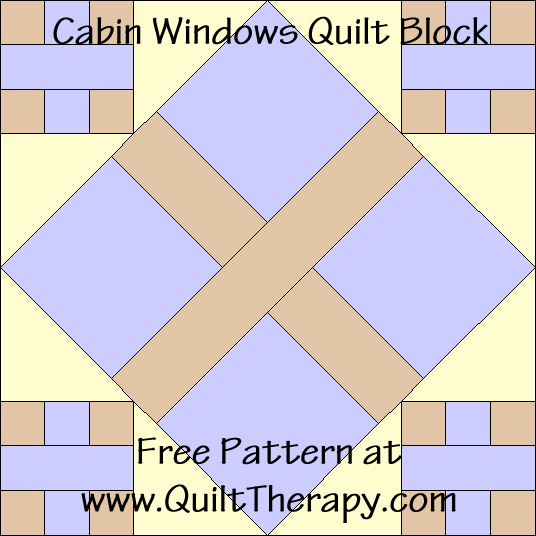 Cabin Windows Quilt Block Free Pattern at QuiltTherapy.com!