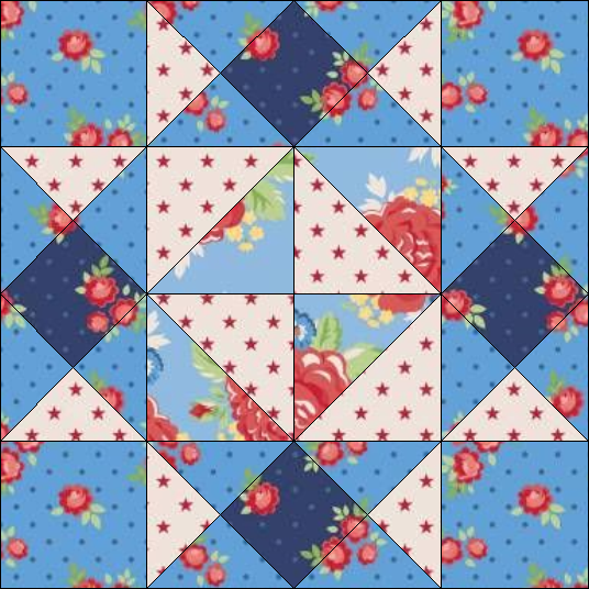 """Harry Loves Alice"" 2019 Free Block of the Month Quilt from BOMquilts.com. Block #2 – Girl's Favorite."